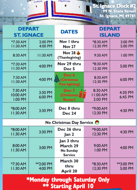 Star Line Mackinac Island Ferry Winter Schedule